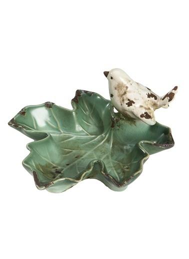 Warm Design Seramik Kuş Figurlü Kase Yeşil